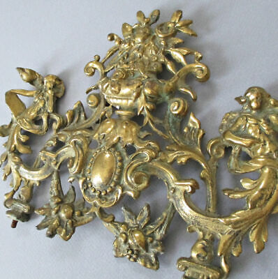 "Antique 11"" French Cast Brass MOUNT Frame CROWN Urn FLOWERS Medallion + MAIDENS"