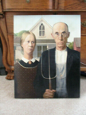 "American Gothic by Grant Wood Canvas Print Wrapped Wall Art 24"" x 30"""