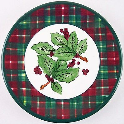 Pacific Rim Red & Green Plaid Holly Holiday Christmas Salad Dessert Plate, Rare!