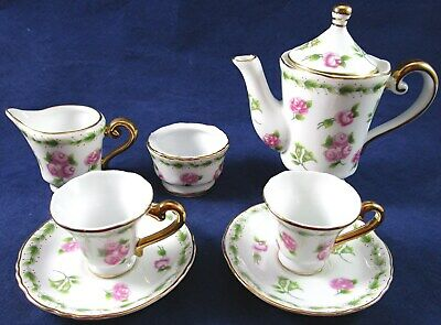 Vintage Regal Porcelain 8 Pc. Miniature Tea Set, Floral Roses with Gold Trim