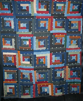 Antique 1930s Log Cabin Quilt - Tied Straight Furrow Pattern -  Hand Stitched