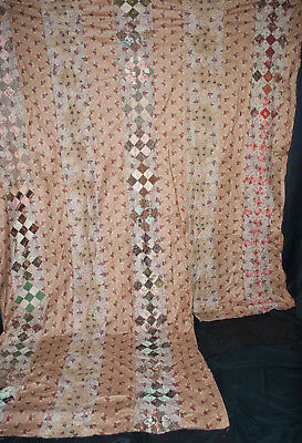 "Rare 1820 Patchwork Quilt - Pieced Cylinder Roll Prints 121"" x 117""  King"