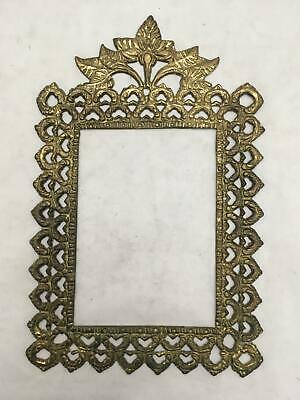 Vintage Ornate Filigree Brass Frame Part Opening About 4x6