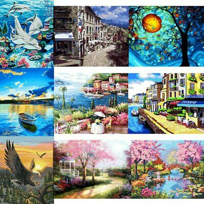 New Canvas DIY Digital Oil Painting Kit Paint by Numbers No Frame Decor 50x40cm