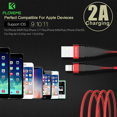 Floveme FAST USB Cable Charger for Apple iPhone 8 7 6 iPad X Braided 1M 2M Cord