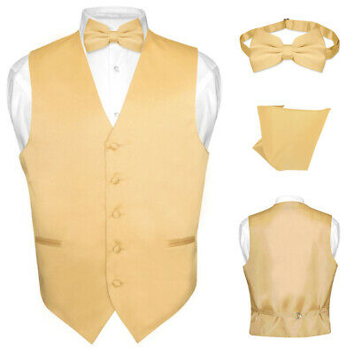 09b13dbafb5d Men's Dress Vest BOWTie Hanky Solid GOLD Color Bow Tie Set for Suit Tuxedo  Large