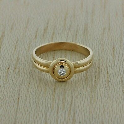 14ct Yellow Gold 0.08ct Diamond Engagement Ring RRP £595 (HQ3)