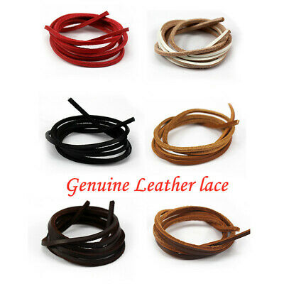 Flat Square Genuine Leather Shoe Laces Pair Deck shoes Boots Thongs Heavy Duty T
