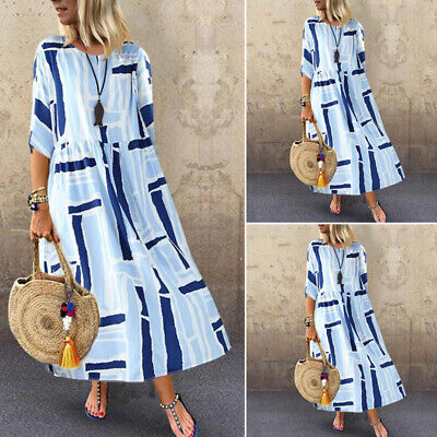 UK Women Floral Short Sleeve Beach Dress Ladies Loose Kaftan Maxi Plus Size 8-24