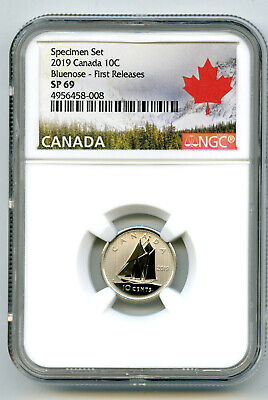 2019 Canada 10 Cent Ngc Sp69 First Releases Frosted Bluenose Dime Rare !!