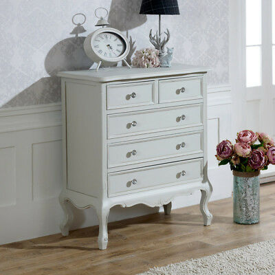 Grey Chest Of Drawers French shabby chic ornate Crystal Knob Bedroom furniture