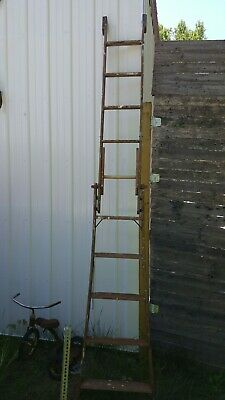 Antique 10 Ft Wooden Extension Ladder Library Grocery Cast