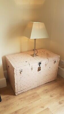 Very Large Vintage antique Steamer Trunk Train B.B FD Yks mystery case box toy