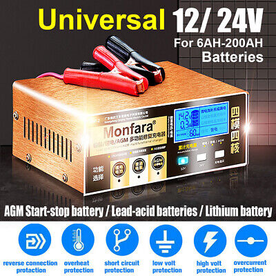 4-200AH Auto Intelligent Pulse Repair Battery Charger For Car Motorcycle 12/24V