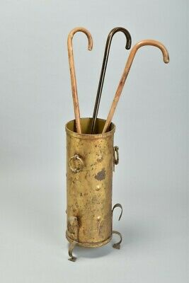 Captain Hogspear's Arts & Crafts Brass Walking Stick Stand inc Old Canes. QIQ