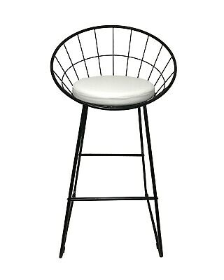 Industrial Black Metal Wire Bar Stool Kitchen Counter Island Cushioned Seat