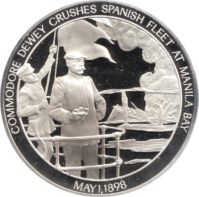 1898 History U.S Navy Silver Proof Medal May 1st SPANISH FLEET AT MANILA BAY