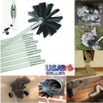 Dryer Duct Cleaning Vent Venting Lint Trap Removal Brush Vacuum Kit 16' Drill