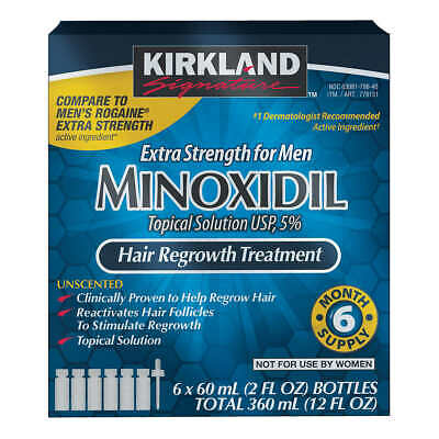 Kirkland 5% Minoxidil Hair Regrowth Treatment Solution Extra Strength for 6month