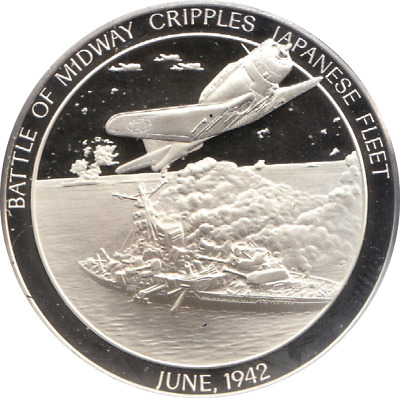 1942 History U.S Navy Silver Proof Medal June BATTLE OF MIDWAY CRIPPLES
