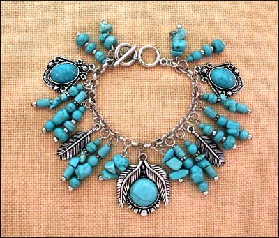 Western Cowgirl Engraved Silver Turquoise Beads Toggle Concho Charm Bracelet #2
