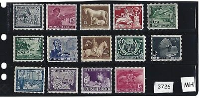 #3726   Small MH stamp set /  Regular Postage / WWII Germany / Third Reich era