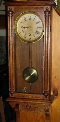 Antique Waterbury Halifax Oak Regulator Wall Clock - Not Running
