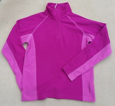 MOUNTAIN LIFE Girls Dark & Light Pink Long Sleeve Fleece Top Zip Neck 11-12 Yrs