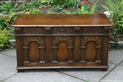 Titchmarsh And Goodwin Carved Oak Blanket Box Rug Toy Chest Trunk Coffee Table