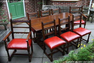 Titchmarsh And Goodwin Oak Dining Table & Eight Leather Dining Chairs Armchairs