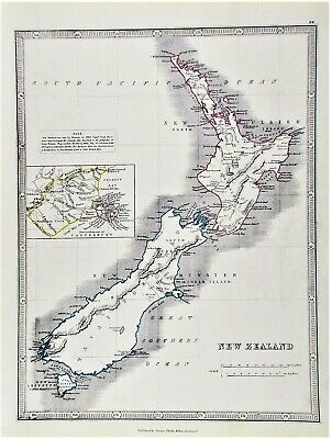 OLD ANTIQUE MAP NEW ZEALAND c1852 by GEORGE PHILIP ORIGINAL HAND COLOUR