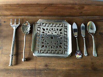 Collection vint EPNS silver plated, items, spoons, souvenir knife, teapot stand