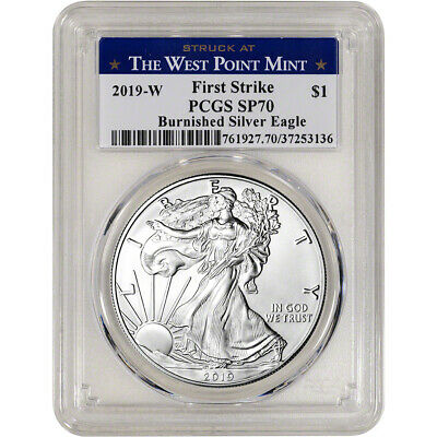 2019-W American Silver Eagle Burnished - PCGS SP70 First Strike West Point Label