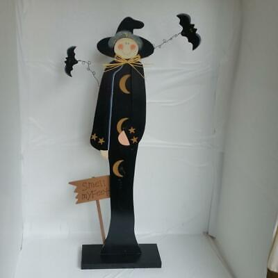 "Halloween 24"" Witch Bats Wood Art Stand Up Decoration Decor Ornament Figure Sign"