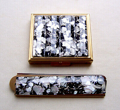Vintage mid century comb and compact set confetti Lucite (AAA)