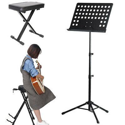 Pro X Frame Piano Stool Bench - Guitarist Stool Throne Seat Padded Music Stand