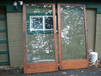 "Antique Vintage pair of LARGE Glass wood doors 42 1/2"" X 90 3/4"" check them out!"