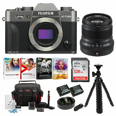Fujifilm X-T30 Mirrorless Camera Body (Charcoal) with XF 35mm Lens Bundle