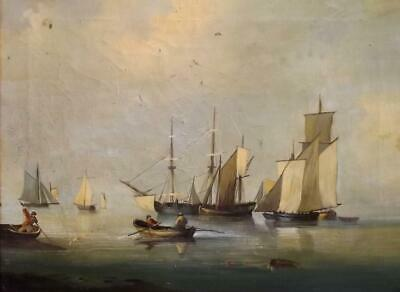 Antique c1900 BRITISH MARITIME Oil Painting for Restoration- Ships in a Calm