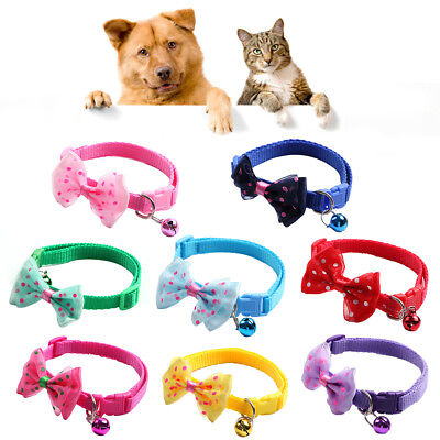 KQ_ BL_ Dot Bowknot Pet Collar with Bell Dog Puppy Cat Kitten Adjustable Necklac