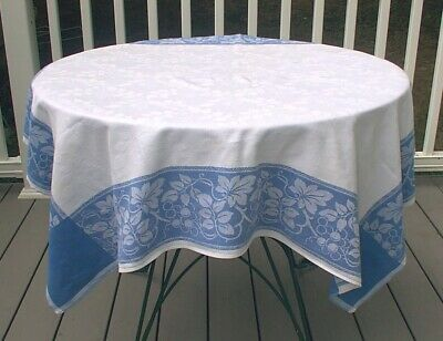 Vintage Tablecloth White Blue Damask Leaves Berries