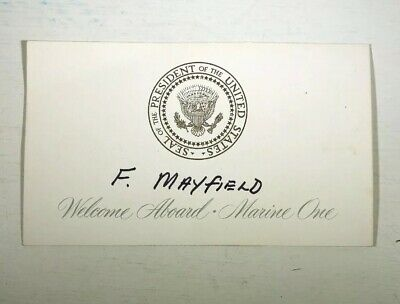 RARE Welcome Aboard Marine One Boarding Seating Card Presidential F. Mayfield