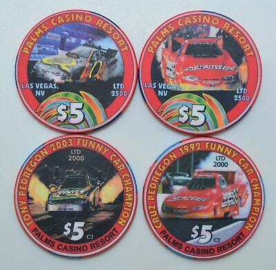 4 Different $5 Funny Car Driver Palms Casino Chips Las Vegas Nevada