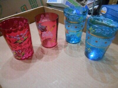 """Antique Lot Of 4 Handpainted Blue & Cranberry 4"""" Glass Tumblers"""