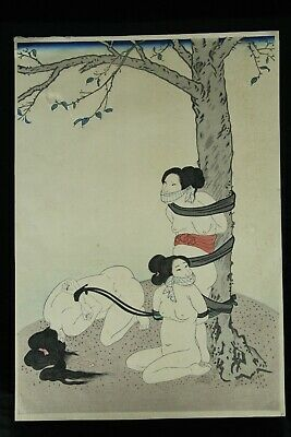 Jun156 Japanese Anitique Ukiyoe Woodblock Print 3 Tied Up Woman