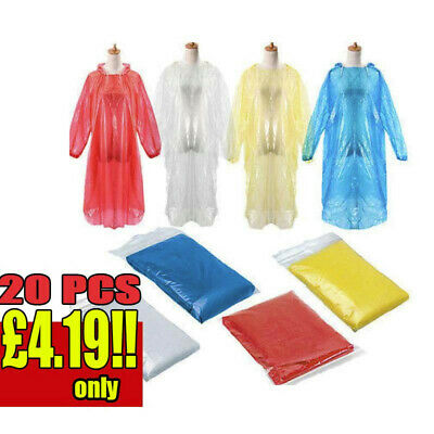 20Pcs Disposable Adult Emergency Waterproof Rain Coat Poncho Hiking Camping Hood