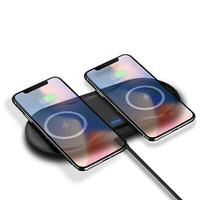 Qi Wireless Charger Dual Phone Charging Dock Mat For iPhone XS Max Samsung S10+