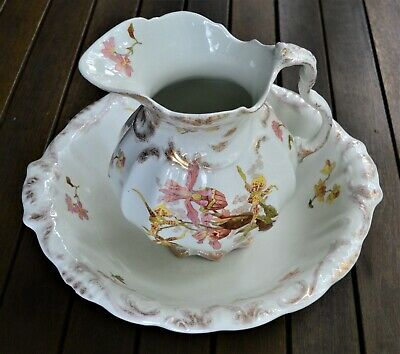 J & G Meakin Porcelain dish and jug, good condition, Iris pink, white and gold.