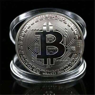 Collectible Bitcoin Bit Coin Gift Commemorative Round Collectors Silver Plated