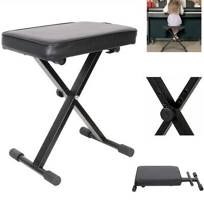 Keyboard Stool with Padded Seat - Portable Adjustable X Frame Piano Bench UK